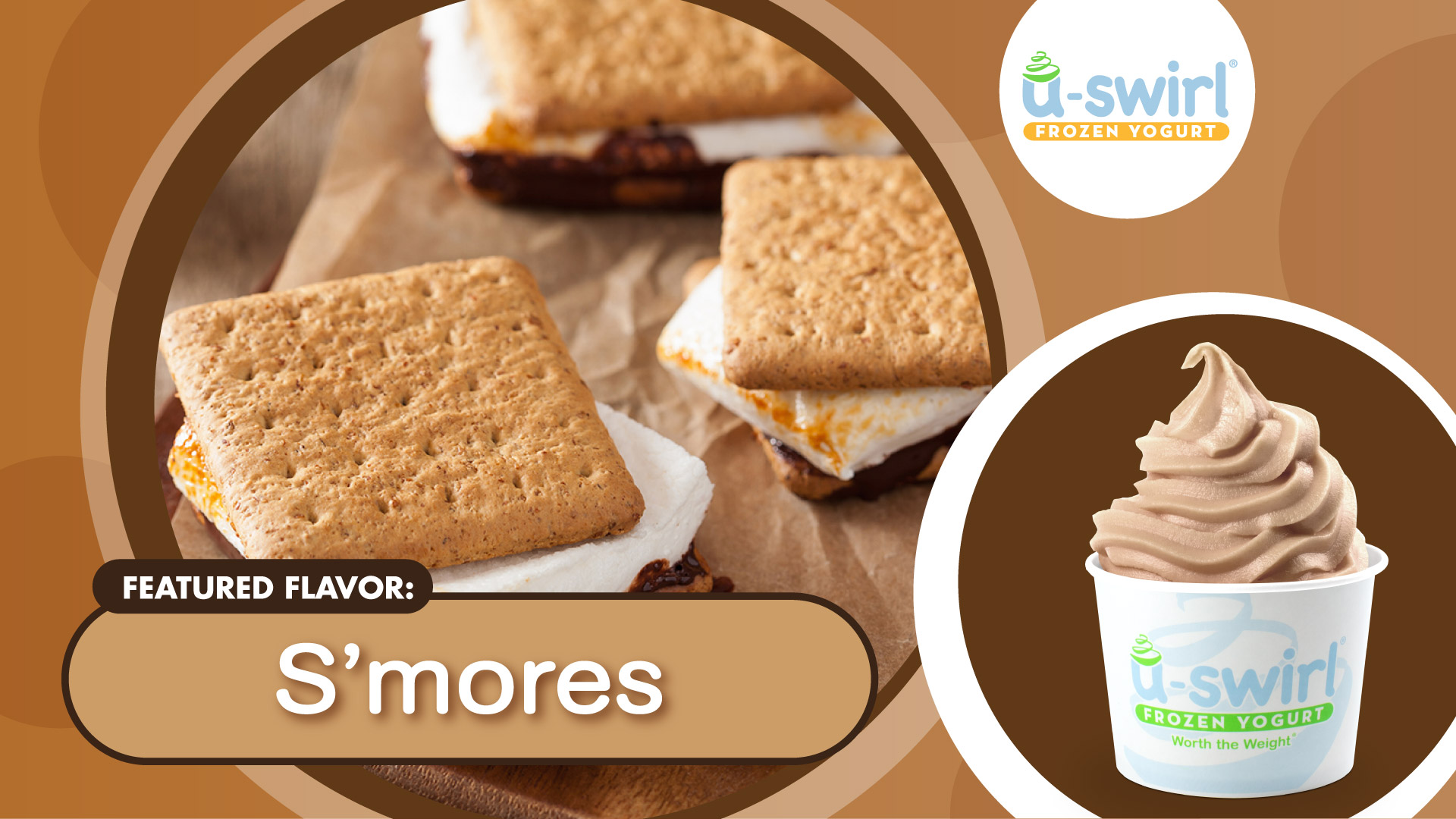 Branded cup of frozen yogurt with S'mores fixings